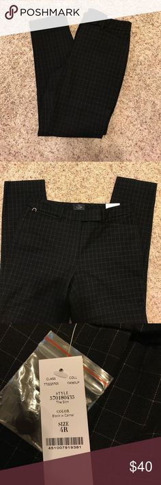 NWT WHBM slim ankle pants NWT White House black market slim ankle pants. Black with a tan check patter on them. Size 4. Has a small 1 in slit at the ankle. White House Black Market Pants Ankle & Cropped