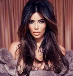 images black highlighted hair | ... ideas for coloring your hair inspiring by kim kardashian hair color