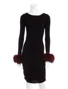 Alice + Olivia ~ Corinna Fur Cuff Dress