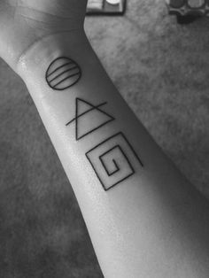 circle means power because you should be in power of yourself  triangle for transcend because it is important to rise above square means to question because you should question everything and never accept things as they are and challenge everything