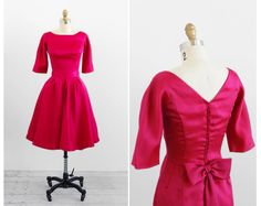 vintage 1960s dress / mad men dress / Red Pink Cocktail Dress with Detachable Skirt and Large Bow