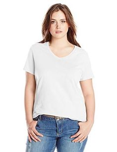 Just My Size Women s Plus-Size Short Sleeve V Neck Tee 23d344d2f315