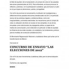 Convocatoria de Concurso de Ensayo sobre las elecciones de 201La sociedad mexicana vive una profunda crisis moral y política producto dela falta de equida. http://slidehot.com/resources/convocatoria-de-concurso-de-ensayo-sobre-las-elecciones-de-2012-b.24980/
