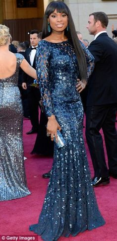 Another view....Jennifer Hudson in Robert Cavalli, Oscars 2013