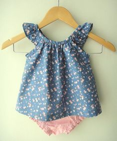 Blue and Pink Floral Cotton Baby Dress and by bluedaisywares, $30.00 (possible flower girl dress idea)