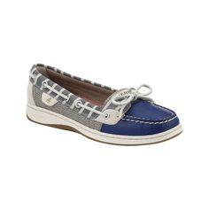 Women's Sperry Top-Sider Angelfish Boat Shoe - Navy/Bretton Stripe... ($90) ❤ liked on Polyvore featuring shoes, loafers, blue, casual, casual shoes, boat shoes, deck shoes, sperry top-sider shoes, sperry shoes and leather shoes