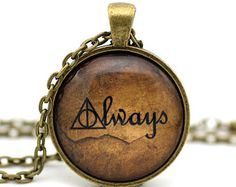 Deathly Hallows 'Always' on Old Paper, Harry Potter Necklace