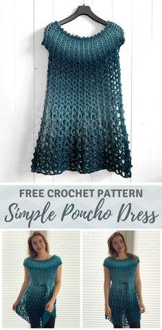 Crochet Poncho Dress - free crochet poncho pattern by Wilmade - - Looking for a simple crochet poncho dress pattern that works up fast? Learn how to make one with my free crochet pattern (sizes and video tutorial! Débardeurs Au Crochet, Poncho Crochet, Pull Crochet, Mode Crochet, Crochet Motifs, Crochet Woman, Crochet Cardigan, Easy Crochet, Plaid Crochet