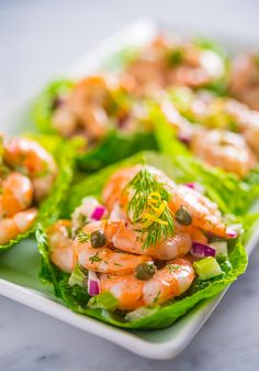 Shrimp Salad with Capers & Dill in Romaine Cups
