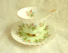 Vintage Royal Albert Pastel Green Rose Bud Teacup Bone China England 1960s