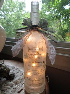 Wine Bottle Lamp,  Inspirational, sister gift, friend gift, home and living, wine bottle lights, wine bottles, glass lighted bottles, lamps
