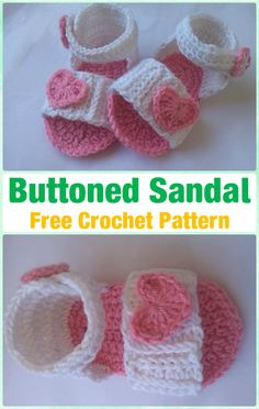 Crochet Baby Buttoned Sandal Free Pattern - Crochet Baby Flip Flop Sandals [FREE Patterns]