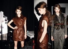 strenesse blue leather dress brown