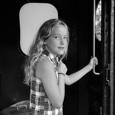 Portrait of young girl on train, Arkville NY