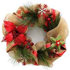 "Christmas Decoration Door Wreath 20"" Natural Snowflake Mesh Beige Red Green Xmas #XmasGarlandsandGreenWreaths"