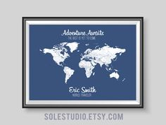 Personalized World Travel maps. Track all your travels! #personalizedmaps #worldmap #giftideas #weddinggift #anniversarygift