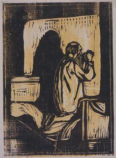 Edvard Munch (1863-1944), Gebet des alten Mannes, Farbholzschnitt von zwei Druckstocken, auf Velin, 470 x 395 mm, Städel Museum, Frankfurt am Main  www.artexperiencenyc.com