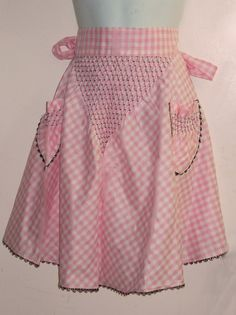 Classic Cocktail Pink Gingham Apron by fifisfinds on Etsy, $12.00