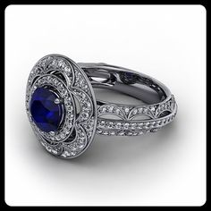 Diamond and Blue Sapphire Vintage Style Halo Engagement Ring 14 k Gold Ring Name Celeste