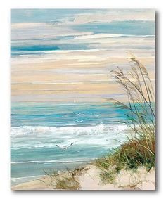 Maillot de bain : Look what I found on Beach Scene Wrapped Canvas This Beach Scene Wrapped Canvas by Courtside Market is perfect! Artissimo Designs Beach At Dusk Hand Embellished Canvas - Canvas Wall Decor Shop for Portfolio Canvas Decor Beach at Dusk Can Painting & Drawing, Painting Prints, Art Prints, Beach Drawing, 3 Canvas Painting Ideas, Acrylic Painting For Beginners, Framed Prints, Canvas Prints, Painting Abstract