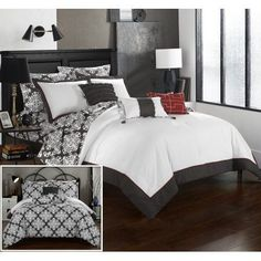 Chic Home 10 Piece Lalita Grey and White Reversible Medallion printed Plush Hotel Collection Queen Bed In a Bag Comforter Set Grey With sheet set