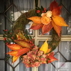 Autumn Wreath - Burnt Orange - Flowers by Flowers of the Hesperides Autumn Flowers, Orange Flowers, Autumn Wreaths, Burnt Orange, Wedding, Home Decor, Fall Flowers, Fall Wreaths, Valentines Day Weddings