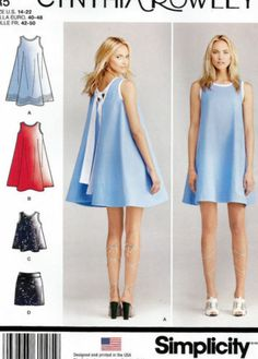 Simplicity Patterns - Simplicity Misses' Dresses Cynthia Rowley Collection - 14 - 16 - 18 - Kwik Sew Patterns, Simplicity Sewing Patterns, Clothing Patterns, Pattern Sewing, Patron Simplicity, Tent Dress, Swing Dress, Dress Skirt, Vogue
