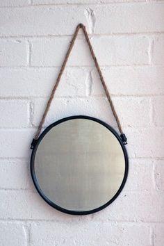 Circular Metal Ship's Mirror on Rope
