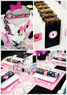 Holy cricut! I can do this too!   Minnie Mouse Birthday Party... Love the table setting and sugar cookies