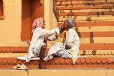 Shaving, Varanasi by Marji Lang, via Flickr