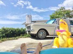 沖縄駐屯地。キッズプールでひとやすみ。 garret interior okinawa garrison. break time in kids pool.