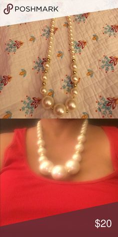 Big Beads Fashion Jewelry Hand Made Pearl look and gold. No clasp just fit over your head Jewelry Necklaces