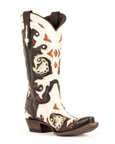 Lucchese Women's Studded Scarlet Black and Natural Inlay Boot - I tried these on today and they are spectacular!