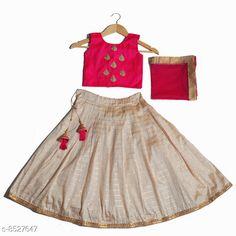 Lehenga Cholis Cute Designer Girls Lehenga Choli Dupatta Set Top Fabric: Satin Lehenga Fabric: Silk Dupatta Fabric: Net Sleeve Length: Sleeveless Top Pattern: Zari Woven Lehenga Pattern: Floral Dupatta Pattern: Striped Stitch Type: Stitched Multipack: 3 Sizes:  4-5 Years (Lehenga Waist Size: 26 in Lehenga Length Size: 24 in Duppatta Length Size: 1.6 m)  5-6 Years (Lehenga Waist Size: 29 in Lehenga Length Size: 27 in Duppatta Length Size: 1.65 m)  3-4 Years (Lehenga Waist Size: 26 in Lehenga Length Size: 22 in Duppatta Length Size: 1.5 m)  8-9 Years (Lehenga Waist Size: 32 in Lehenga Length Size: 31 in Duppatta Length Size: 1.8 m)  6-12 Months (Lehenga Waist Size: 22 in Lehenga Length Size: 16 in Duppatta Length Size: 1.5 m)  6-7 Years (Lehenga Waist Size: 29 in Lehenga Length Size: 29 in Duppatta Length Size: 1.7 m)  7-8 Years (Lehenga Waist Size: 31 in Lehenga Length Size: 30 in Duppatta Length Size: 1.75 m)  2-3 Years (Lehenga Waist Size: 25 in Lehenga Length Size: 19 in Duppatta Length Size: 1.5 m)  Country of Origin: India Sizes Available: 6-12 Months, 9-12 Months, 12-18 Months, 18-24 Months, 1-2 Years, 2-3 Years, 3-4 Years, 4-5 Years, 5-6 Years, 6-7 Years, 7-8 Years, 8-9 Years, 9-10 Years, 10-11 Years, 11-12 Years   Catalog Rating: ★4.3 (16924)  Catalog Name: Cute Designer Girls Lehenga Choli Dupatta Set CatalogID_1441571 C61-SC1137 Code: 414-8527647-1401