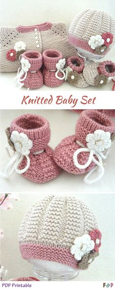 This matching knitted baby set is absolutely gorgeous! Hat, jacket, and booties! So cute! #ad #knitting #pattern #printable #babyjacket #babyhat #babybooties #booties #needlework #crafty #diy