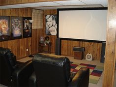 DIY Home Theatre Screen  With a nice backing on it, you could put it on hinges and lift it up to latch on the ceiling if you needed the wall space.