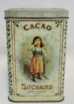 Rare-1900-German-Tin-Can-Litho-Suchard-Swiss-Cacao-Chocolate-Tin-Box-French