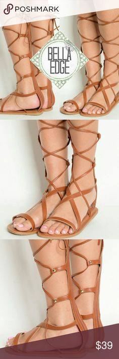 🆕 ATHENA Whiskey strappy stud gladiator sandals These sandals are going to be your summer staple! Features thick instep straps and thin straps that wrap around your calves and ties at top for that Greek goddess look, zip up back, and gold hardware studs on each T-strap. Cushion sole, fits true to size.  Also available in natural bone  Size 5-10 Bella Edge Shoes Sandals