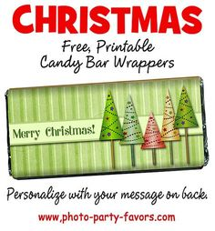 Free DIY Printable Christmas Candy Bar Wrappers - This holiday craft is a easy sweet treat to give away and fits a standard size Hershey bar. More free printables and other Christmas and party stuff at http://www.photo-party-favors.com/