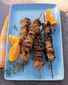 Pork Kebabs with Orange and Thyme | We like to use pork in these kebabs, but lamb or chicken would also benefit from this marinade.