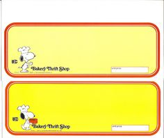 IBC Bakery Thrift Shop Snoopy Shelf Display Sign