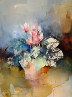 Lars Eje Larsson Watercolor Water, Abstract Watercolor, Watercolor Flowers, Watercolor Paintings, Watercolours, Still Life Flowers, Alcohol Ink Painting, Botanical Drawings, Abstract Flowers