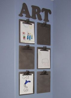 Coordinated Clipboards  Clipboards make it so easy to change your child's art in and out. Here's fun display idea!   via Clean And Scentsible