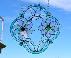 Stained Glass Suncatcher with Hummingbird by BayCreationsbyWendy