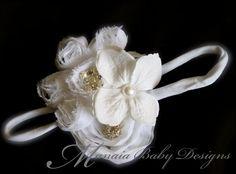 White Flower Headband / White Flower Hair by ManaiaBabyDesigns, $8.75
