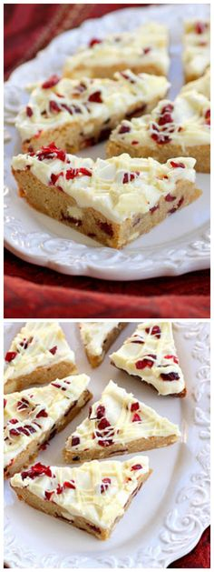 Cranberry Bliss Bars - a knockoff of the Starbuck's treat. A blondie dotted with white chocolate and cranberries with a slight hint of orange. the-girl-who-ate-everything.com:
