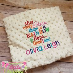 Hey, I found this really awesome Etsy listing at https://www.etsy.com/listing/464211544/personalised-rainbow-baby-blanket