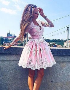 Cute pink lace short prom dress,pink homecoming dress,cute homecoming dress