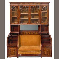Louis Majorelle marquetry cabinet/settee  circa 1900