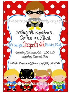 Superhero Birthday Party Invitation. Can be printed or sent in a digital file :)